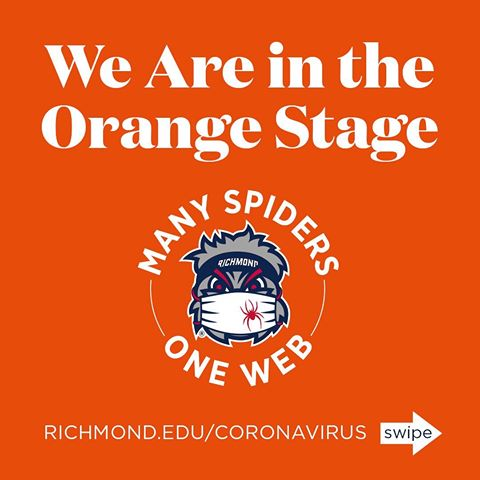 #URichmond has moved to the Orange Stage of the physical distancing framework. This guide breaks down the highlights for our campus community.  The maximum attendance at University-sponsored outdoor events and approved outdoor events hosted by recognized student organizations will increase from 50 to 100. All such events are required to be registered and approved.  Swipe up on our story to read more about the different stages of the framework.