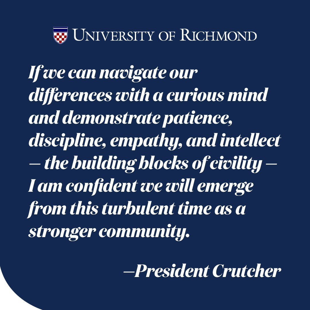 As the country prepares for tomorrow's election, we wanted to share a letter that #URichmond President Crutcher recently wrote to the community about our shared values during a time when beliefs and opinions conflict. Swipe up on our story to read his full message.