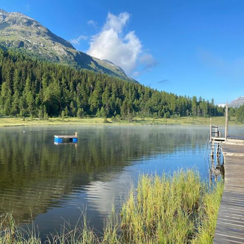 That there's a little island reserved just for you today...#walthermoments #mostbeautiful#themagicofmornings #happysummertime #inthemountains#alwaysnearwater #1,2,3...juuump!!!#dayslikethese #giveyoualot #engadin #engadinstmoritz #relaischateaux #where's Walt(h)er?🧐 #comingupsoon #beprepared