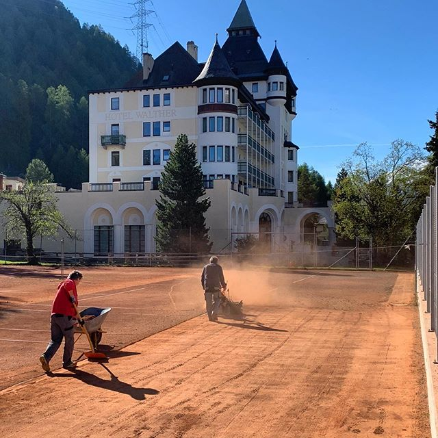Courts number 1,2 & 3 are prepared for big tennis this summer🎾❤️ #walthermoments#gettingready#swisstennis #waltherchampions#outdoor#allincluded #youradvantage #lookingforward#startsummerseason #12.June2020#relaischateaux #allunited #pontresina_engadin #engadin