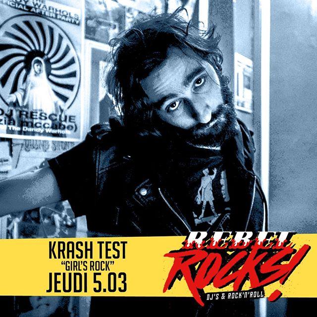 #rebelrocks c'est ce soir ! 👉 LE #rdv du #jeudi 🎧 KRASH TEST - Un set endiablé avec une #girltouch 💋 🍻 3.90€ toute la soirée #youpi . . #osullivans #rebelbar #chatelet #pubinparis #bestpubinparis #parisbynight #djset #rockparty #party #allnightlong
