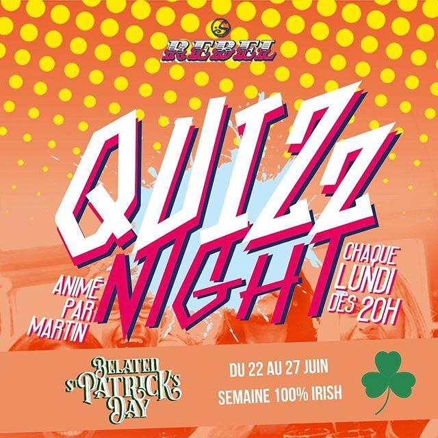 IT'S QUIZ NIGHT TIME 🔥 Pour commencer la #semaineIrlandaise en beauté on vous attend nombreux ce soir à 20H pour une #QuizNight animée par Martin 🥳  ARE YOU READY ??!?! Because I am 🍀 . . . . #OsullivansChatelet #RebelBar #Chatelet #quizNight #Letshavefun