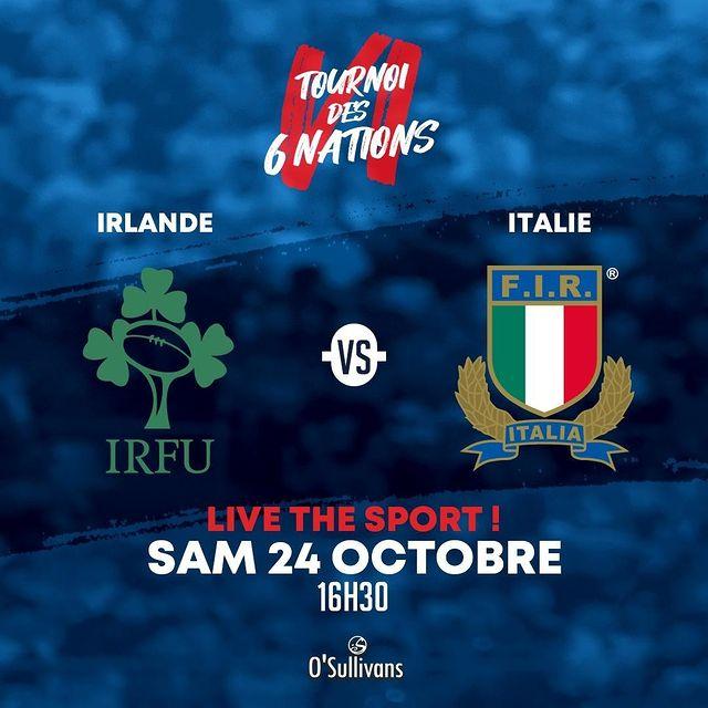 LE TOURNOI DES 6 NATIONS EST DE RETOUR !! 🏈⠀ Le Samedi 24 Octobre, venez vivre la rencontre IRLANDE VS. ITALIE au #OSullivansChatelet ! 🍻 Qui de #IRL ou de #ITA gagnera ce match des #6Nations ? En tous les cas, dans notre pub Irlandais, on a déjà notre préférence ! 🇮🇷 On vous attends nombreux au REBEL, votre #OSullivansMarais, dès 16H30 ! 👀 (Evénement sous réserve d'être modifié/ annulé en vu de la situation actuelle).
