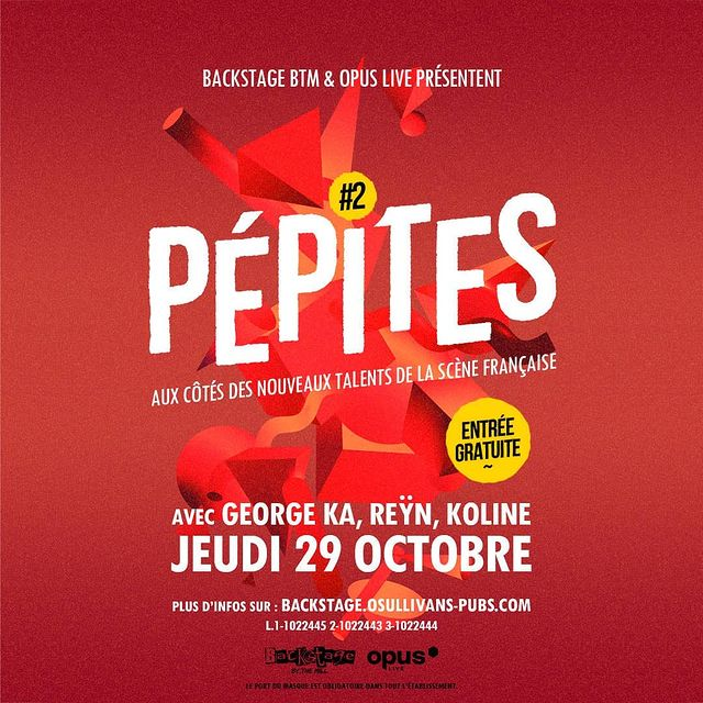 🔥 @pepites.backstagebtm revient avec une programmation 100% féminine !  Sur notre scène du Backstage venez découvrir ces nouveaux talent de la scène Française : @georgeka_a  @iamreyn_  @kocoline  #savethedate 29.10.2020  On vous previent ça va être #badass  🎟️ #FREEENTRANCE dans la limites des places disponibles ✅ Please have a sit - #concert assis 👌 #respect des normes sanitaires  . . #music #live #backstage #sanitize #women #femaleartist #artist #urban #paris #pigalle #irishpub