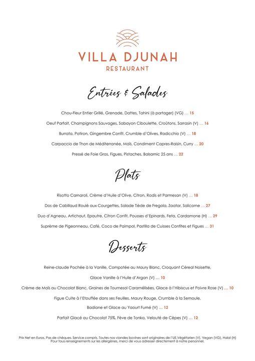 Villa Djunah Restaurant Du Mardi au Samedi 19h à 22h